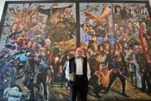 Konstnären Johan Falkman och målningen i Hörby. Fin, men ohyggligt ful.