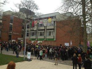 Protester mot privatiseringen av universitetet i Sussex
